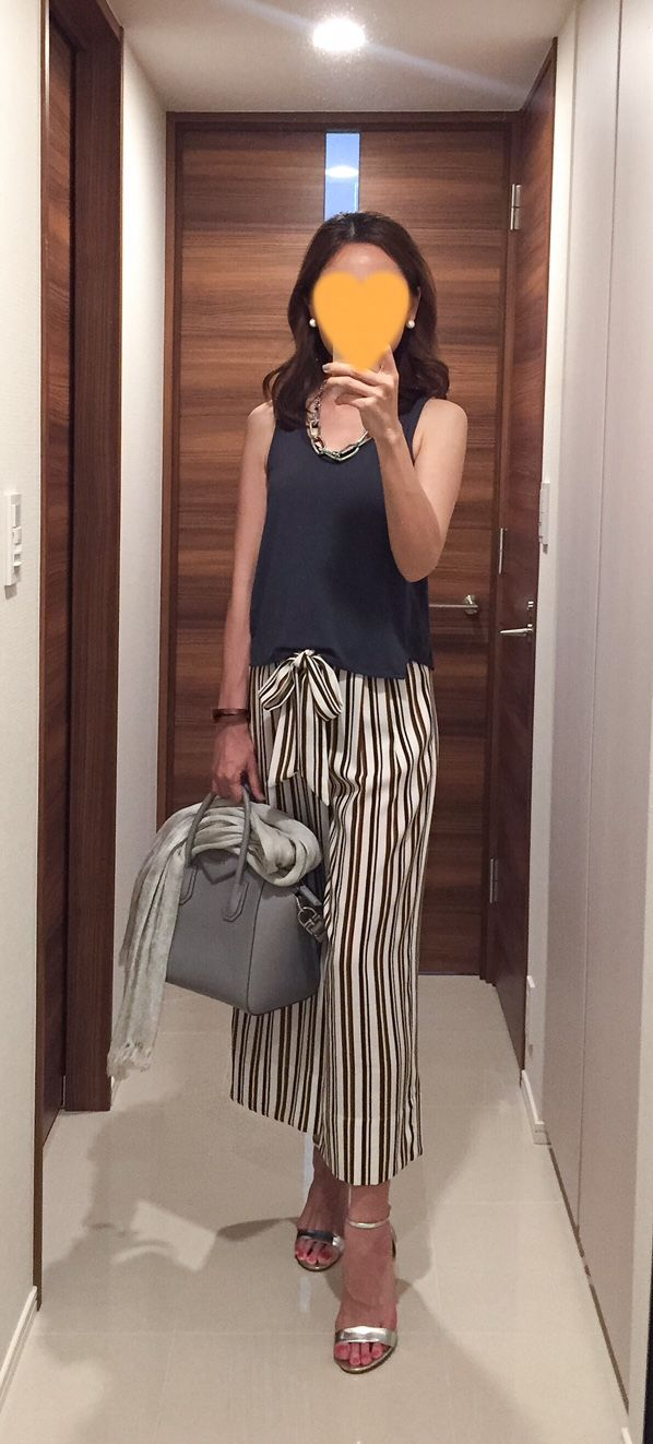 Grey top: EMODA, Striped pants: ZARA, Grey bag: GIVENCHY, Silver sandals: Ginza Kanematsu