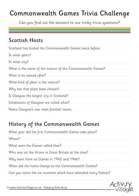 Commonwealth Games trivia challenge 2014