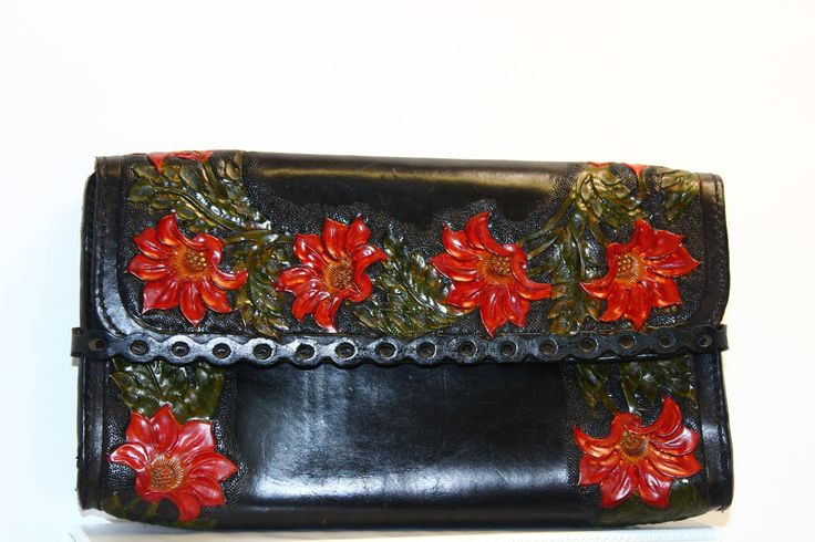 clutch leather hand tooled