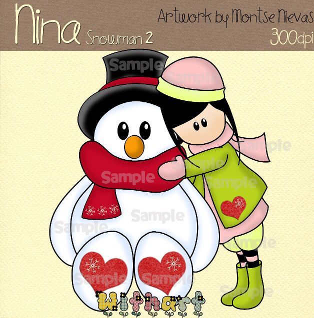 Nina dolls clipart, digital Illustration by Withart for scrapbooking, cardmaking and crafts. Winter, doll, snowman,. www.etsy.com/shop/withart