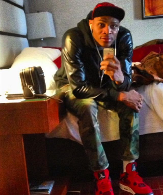 Russell Westbrook wearing Air Jordan IV « Fire Red Suede »