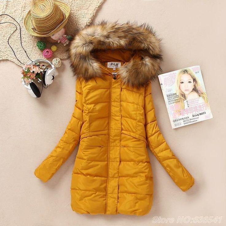Aliexpress.com :  Yellow Down Hooded Fur Collar Coat