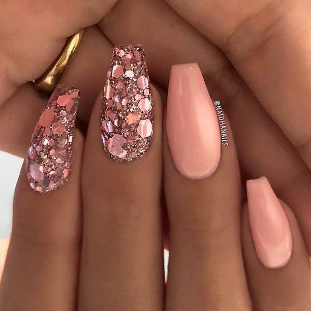 Repost Salmon Pink And Glitter On Coffin Nails