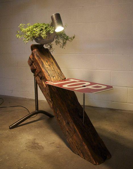 "Reclaimed Farmhouse Beams Made Into Eclectic ""Farmpunk"" Furniture"