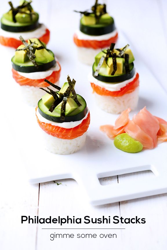 Philadelphia Sushi Stacks   Looks yummy enough to overlook that it's a post sponsored by a cream cheese