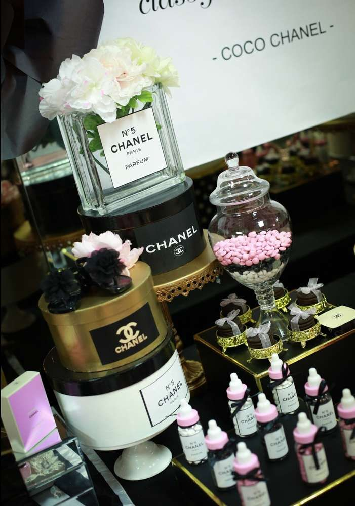 Coco Chanel inspired baby shower    CatchMyParty.com