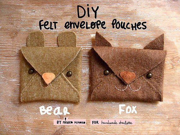 DIY: felt envelope animal pouches