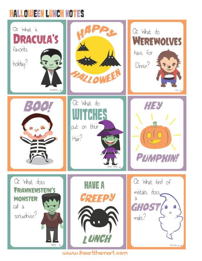 31 Days of Halloween! {Day 13} Printable Lunch Box Notes Holidays