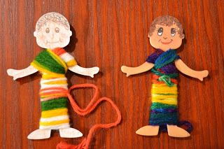 Make Joseph's coat by wrapping him with colorful yarn!  This is a great fine motor and sensory activity.