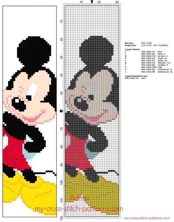 Disney Mickey Mouse children bookmark free cross stitch pattern