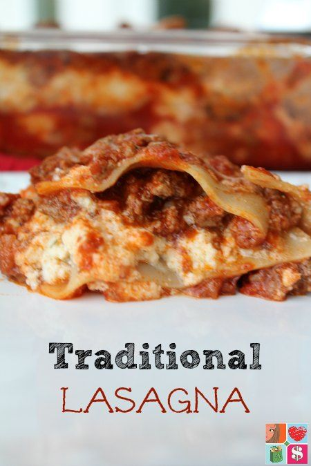 This traditional lasagna recipe is an all time family favorite comfort food meal. Filled with cheese, meat, noodles, and sauce, you'll love it!