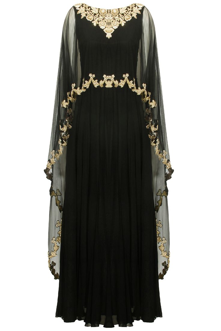 Black embroidered cape anarkali set available only at Pernia's Pop-Up Shop. #traditional #designer #fashion #couture #shopnow #perniaspopupshop #happyshopping #festive #chhaviaggarwal