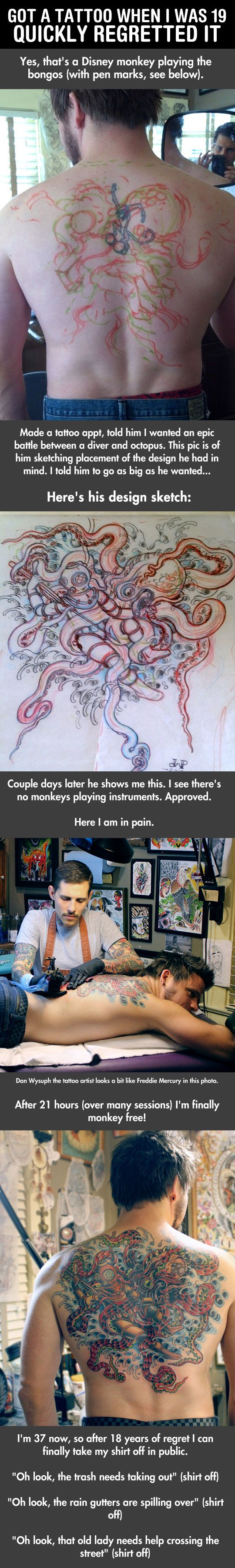 Hahah this is awesome!! :) Just look at it like this guy did, one bad tattoo= one awesome cover up later with a better tattoo!!