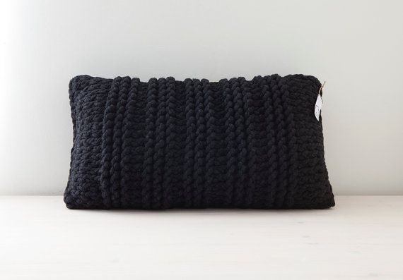Black knitted pillow - made by Home Sweet Home Design (etsy shop)