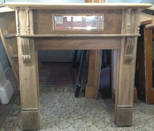 mantel mantle Original turn of the century stripped Kauri pine, w 1435 x h 1380mmsalvage recycled demolition, secondhand, used, original, old, heritage, antique timber mantel suround