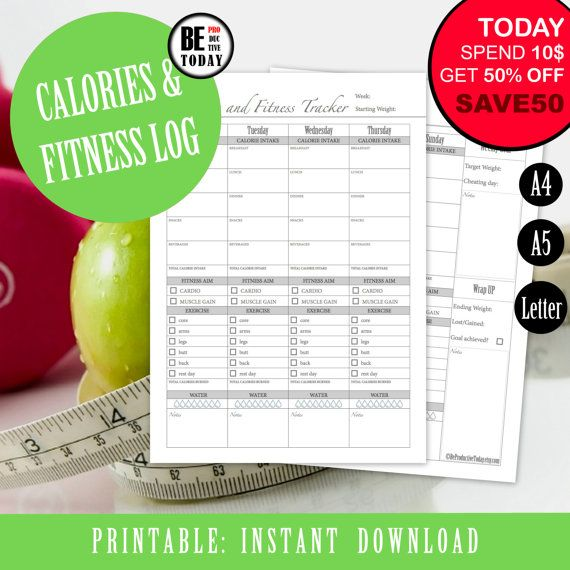 Fitness and Calorie Tracker, Health and Fitness Planner, Weight Loss, Workout, Food Log, Weekly Diet Journal, A4, A5, Letter, PRINTABLE Page