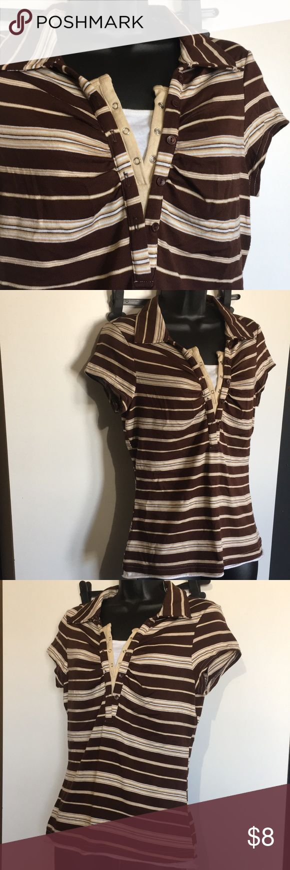 """Anxiety Woman's Top Anxiety Woman's Large,cream,white,& brown striped,collar style,short sleeve,v-cut, 22 1/2"""" full length,New Condition. Anxiety Tops"""