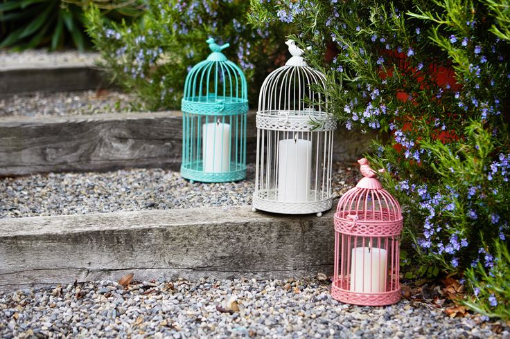 Coloured lanterns with bird detail by Carolyn Donnnelly eclectic