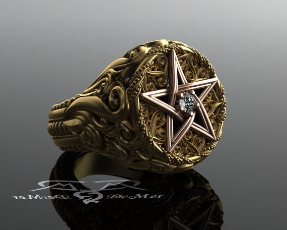 Solid 18kt 2-tone diamond large supernatural pentagram ring. Celtic Woven Star Ring Victorian Baroque Scrolls. Crowley Spiritual Wicca Pagan