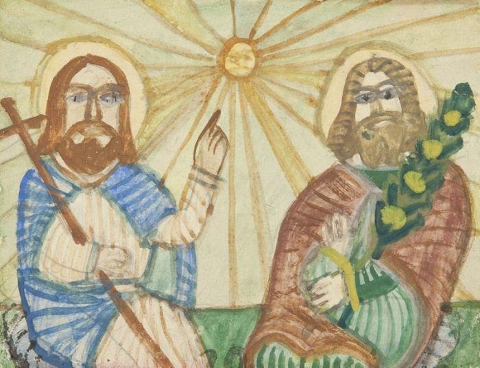 Nikifor Krynicki - Chrystus i święty
