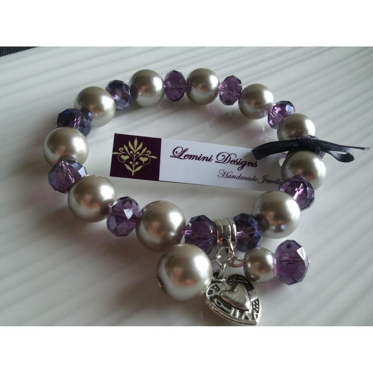 Purple Crystal and Light Grey Pearl Bracelet