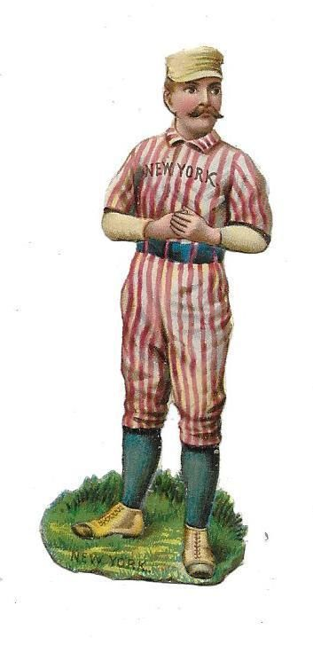 Victorian Die Cut Scrap New York Baseball Player Knickerbocker?  Yankee?:
