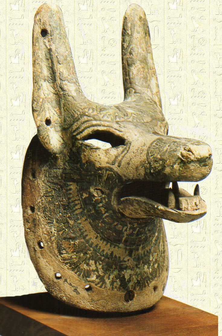 mask of Anubis. ancient Egypt. Anubis is the Greek name of a jackal-headed god associated with mummification and the afterlife in ancient Egyptian religion. Like many ancient Egyptian deities, Anubis assumed different roles in various contexts. Depicted as a protector of graves as early as the First Dynasty (c. 3100 – c. 2890 BC), Anubis was also an embalmer. One of his prominent roles was as a god who ushered souls into the afterlife.