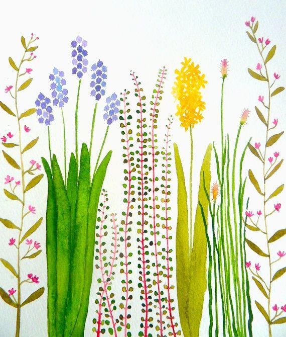 Etsy の SALE-colorful garden original watercolor by zuhalkanar