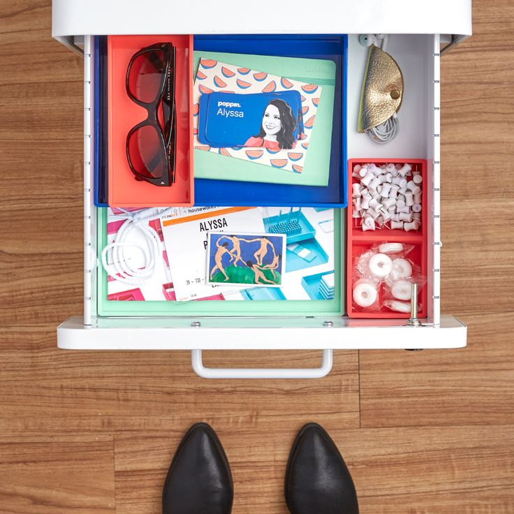 poppin associate account manager alyssa keeps her file cabinet full of inspiration and poppin catalogs for