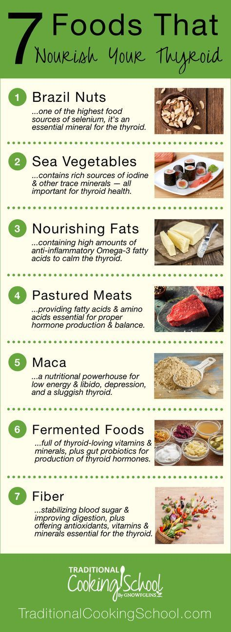 7 Foods That Nourish Your Thyroid | Gaining weight? Feeling depressed or sluggish? Is your hair falling out? Have you experienced strange or irregular heartbeats? Can't sleep? All roads might lead to your thyroid. Thyroid problems can be genetic, and though you can't control your genes, you can control your diet and lifestyle. Nourish your thyroid with these 7 foods! | TraditionalCookingSchool.com #Dietandyourthyroid