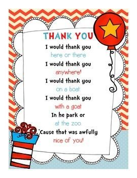Use this adorable Dr. Seuss-themed thank you note for your volunteers and guest readers for Read Across America Week!