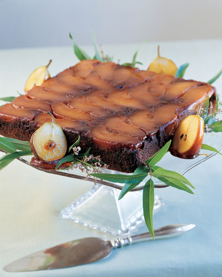 Pear Upside-Down Gingerbread Cake | Martha Stewart Living - This gingerbread-based cake is both festive and homey.
