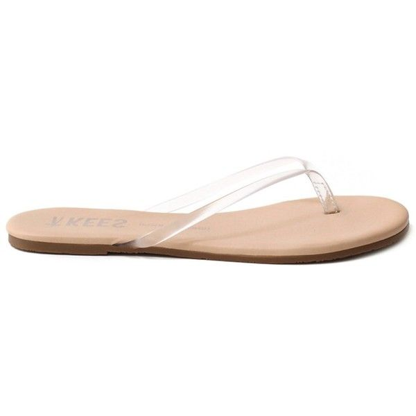 Tkees Tkees Sheers Cocobutter Flip Flop ($26) ❤ liked on Polyvore featuring shoes, sandals, flip flops, brown, brown flip flops, rubber sole shoes, transparent sandals, grip shoes and traction shoes