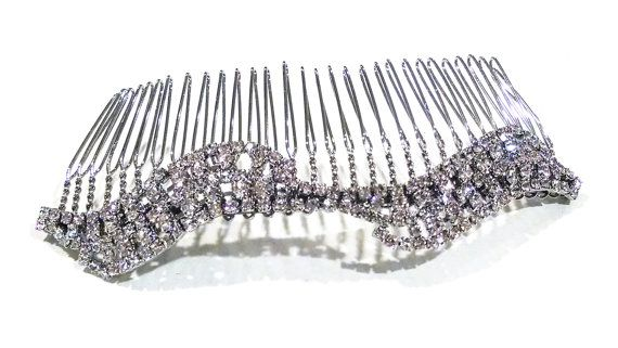 Bridal Hair Comb Crystal Hairpiece  Silver and by SimplyBlueBridal, $48.00