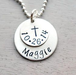 Special Date Personalized Hand Stamped Necklace - Great for Baptism, Communion