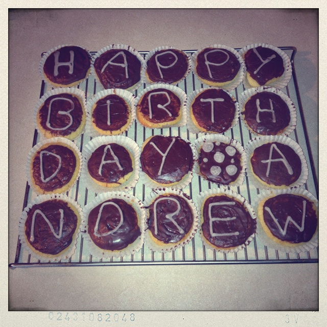 Boyfriends birthday cakes :0)  peanut butter cookies and chocolate letters