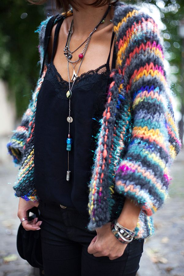 dark bright gradient rainbow wool stripe knit loose shrug knit ↠savana_rollins↠