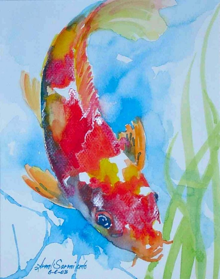 Pin by helen luck on watercolor pinterest koi fish for Koi artwork on canvas