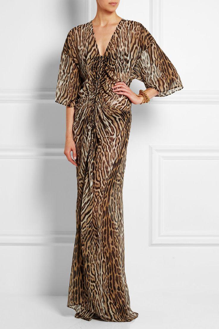 Roberto Cavalli|Leopard-print silk-chiffon gown|NET-A-PORTER.COM