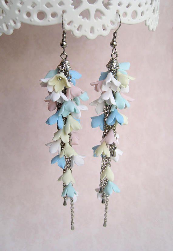 Pastel colours statement drop earrings