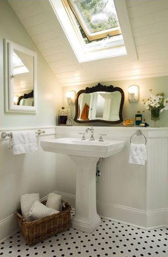 mint bathroom with slanted ceiling