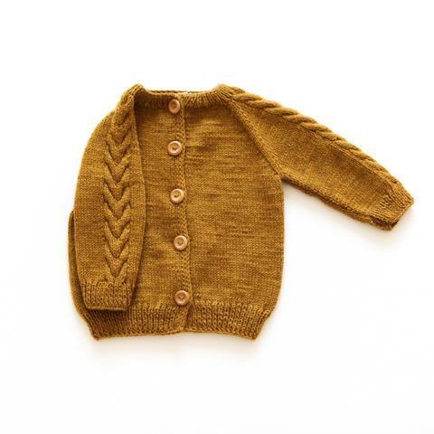 Hand-Knit Merino Wool Leda Cardigan - Ginger - 18m-5y