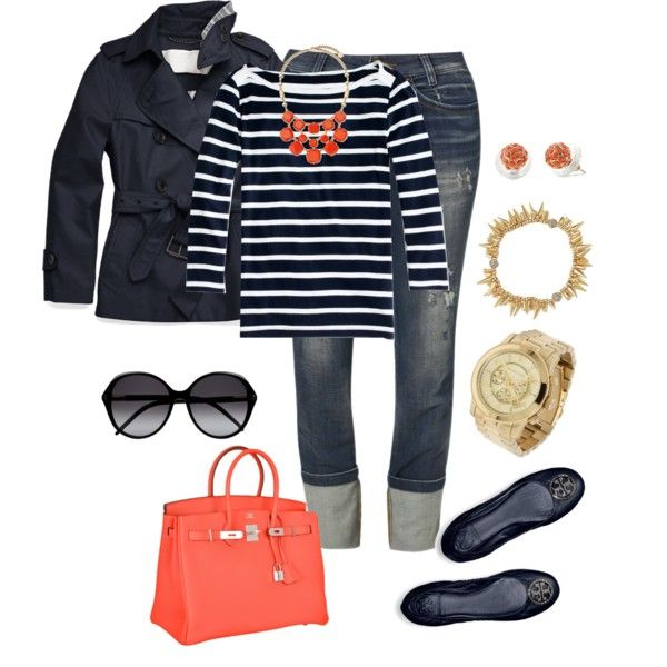 Navy Stripes with Pop Of Coral!