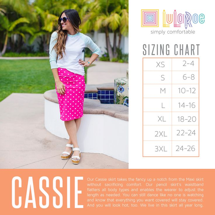 LuLaRoe Cassie Skirt Size Chart. Shop now: www.facebook.com/groups/LuLaRoeJenny/.