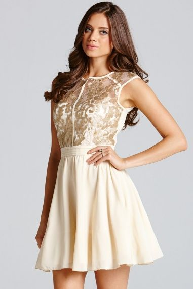 Cream and Gold Floral Lace Prom Dress