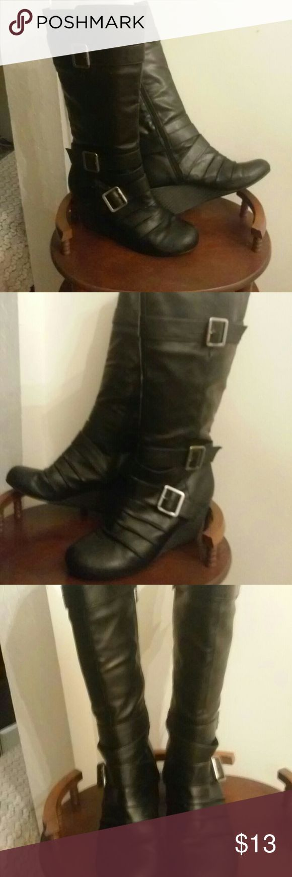 Black knee high wedge boots By Rampage. Black wedge. Knee high boots with full inside zipper,&  three buckle on outer side for visual style. Size 8 Rampage Shoes Heeled Boots