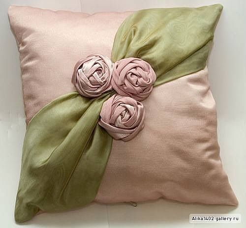 satin roses and chiffon pillow