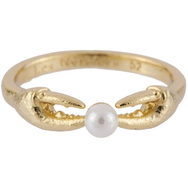 Les Néréides ATLANTIDE CRAB'S PINCERS AND PEARL RING ($86) ❤ liked on Polyvore featuring jewelry, rings, gold, jewelry rings, white pearl ring, octopus jewelry, octopus ring, pearl jewellery and les nereides jewellery