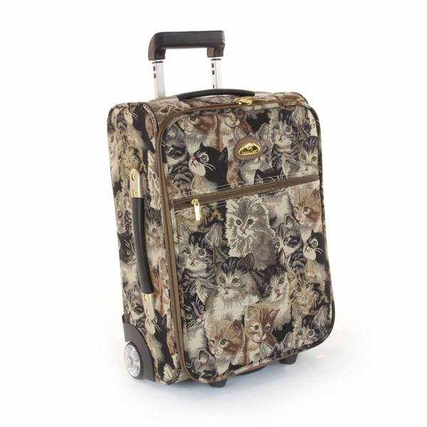 Luggage with Cat Design | Lightweight Luggage Tapestry Cat Design - Handbag…