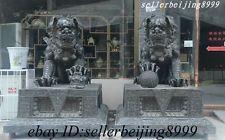 180CM Large Chinese Pure Bronze Copper Guard Door Lion Fu Foo Dog Statue Pair